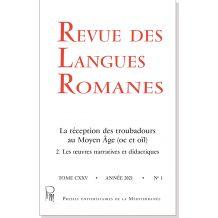 Revue des Langues Romanes Tome 125 n° 1